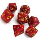 Red & Yellow Vortex Polyhedral 7 Dice Set